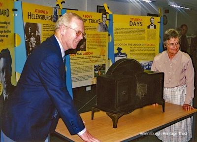 Heritage Trust chairman Stewart Noble with John Logie Baird's daughter Diana Richardson at the opening of the 'Unknown John Logie Baird Exhibition' in 2000.Photo by Kenneth Crawford.