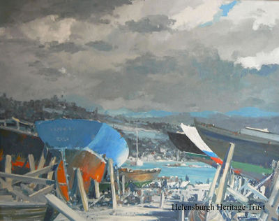 """Boatyard, Kilcreggan"" by Arthur Henry Turner